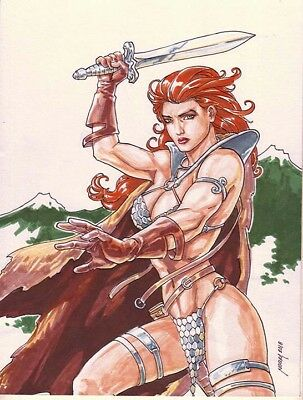 RED SONJA sexy sketches pin up drawing original art by NOORA