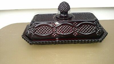 Avon Cape Cod ruby red glass  butter dish with cover