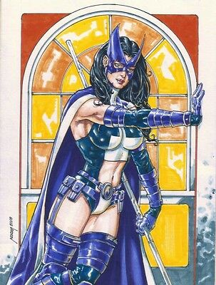 HUNTRESS sexy sketches pin up drawing original art by NOORA
