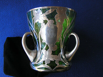 Sterling silver overlay three handle green sparkling glass vase 7""