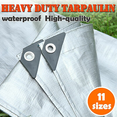 Mulit-Size Heavy Duty Poly Tarps PE Tarpaulin Camping Cover UV Water Rot Proof