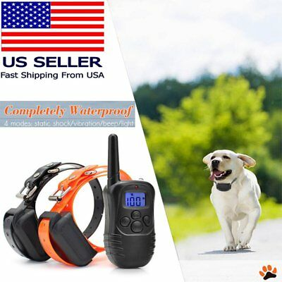 Rechargeable Electric Remote Dog Training Shock Collar 330 Yard LCD Waterproof