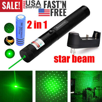 50Miles 532nm 303 Green Laser Pointer Lazer Pen Visible Beam Light+18650+Charger