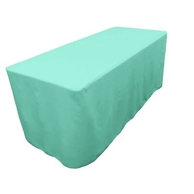 6' Fitted Polyester Table Cover-Craft-Trade Show Tablecloth Tiffany Blue-EUC