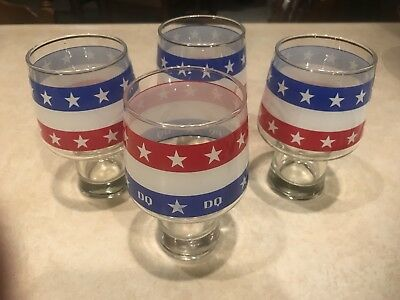 Vintage Set of (4) Dairy Queen Glasses 3 Misprinted Red White Blue Stripes Stars