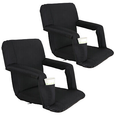 2 PCS Black Stadium Seat Bleacher Chair Cushion - 5 Reclining Positions