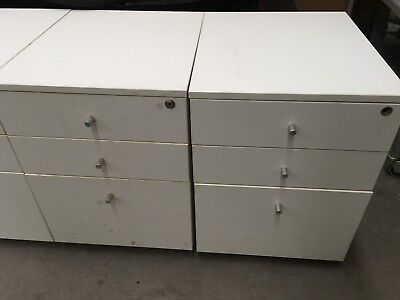 4 UNITS OF 3 Drawer Mobile Pedestal Filing Cabinet IN OFF WHITE COLOUR