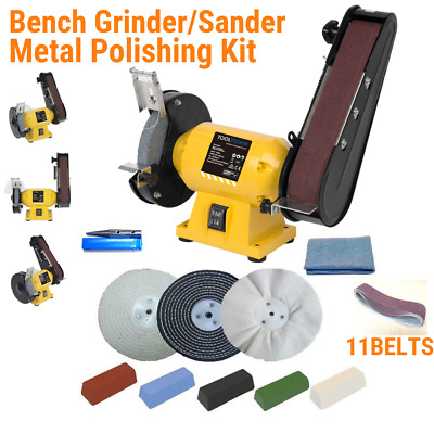 "150mm Bench Grinder Linisher Sander with 11 Belts and 6"" Metal Polishing Kit"