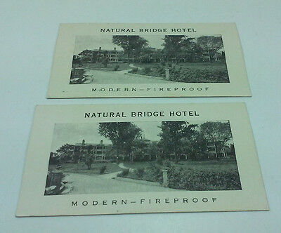 Two Vintage Natural Bridge Hotel Virginia Referral Business Cards