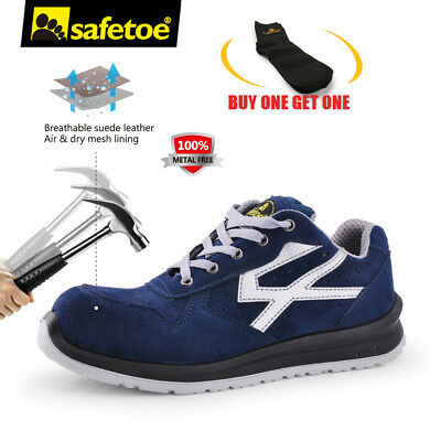 Safetoe Blue Safety Shoes Mens Work Boots Sports Light Weight Composite Toe 7328