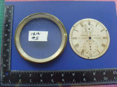 15848#24: Original brass chronometer  clock dial and bezel  max outer dia 127mm