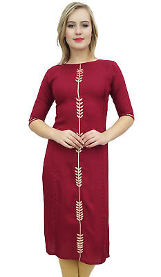 Bimba Women's Designer Rayon Maroon Kurti Embroidered Indian Tunic Kurta