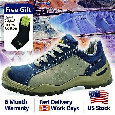 Safetoe Blue Leather Safety Shoes Steel Toe Breathable Extra Wide L-7295 US Size