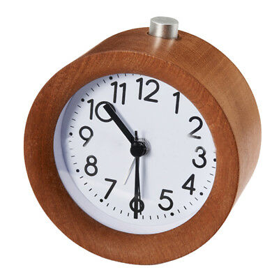 Classic Small Round Silent table Solid Wood Round pointer Alarm Clock, Ligh Y4O7