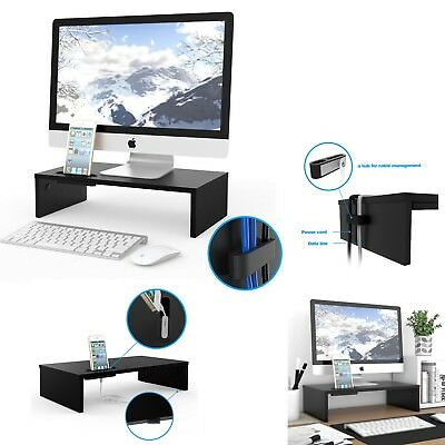 Desk Monitor Wood Stand Riser TV Computer Laptop Screen Cellphone Storage Holder