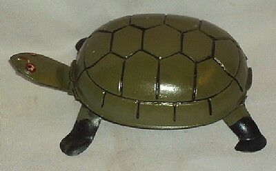 Vintage Wind Up German Turtle Tinplate Toy Made In Germany Rare Circa 1940's