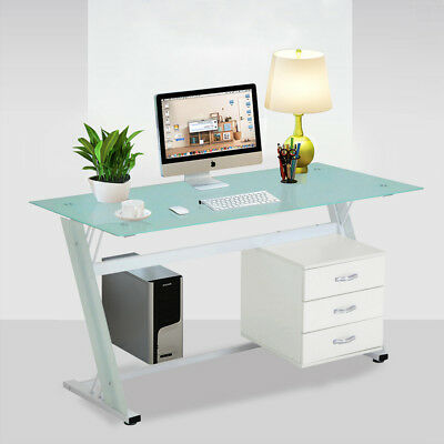 140cm Length Writing Pc Laptop Desks With Tempered Glass Top 3 Storage Drawers