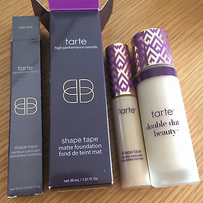 DUO TARTE  shape tape contour concealer & shape tape matte foundation Light Sand