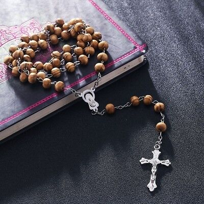 First Holy Communion ROSARY BEADS WOODEN  Boys Girls Men LOVELY WOOD GIFT + BAG