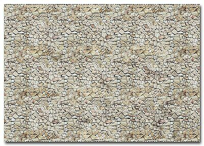 BUSCH HO scale ~ 'NATURAL STONE WALL' CARDBOARD SHEETS ~ #7422 suit model train