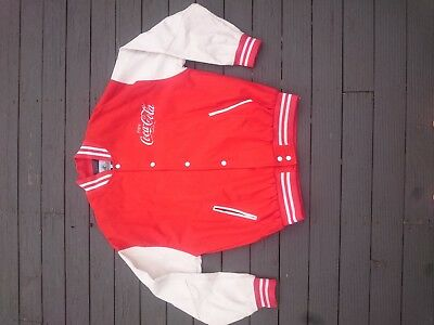 Vintage Coca-Cola red leather and wool mens bomber jacket relisted