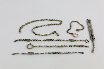 Lot of 6 x Antique Watch Chains inc Gold Plated , Base Metal , Bronze Tone 98g