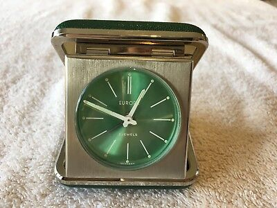 Vintage Europa 2 Jewels Wind Up Green Travel Alarm Clock in Travel Case.