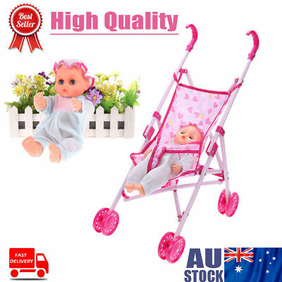 2pcs Baby Kid Buggy Stroller Foldable Pushchair Trolley Toy Doll Pram For Barbie