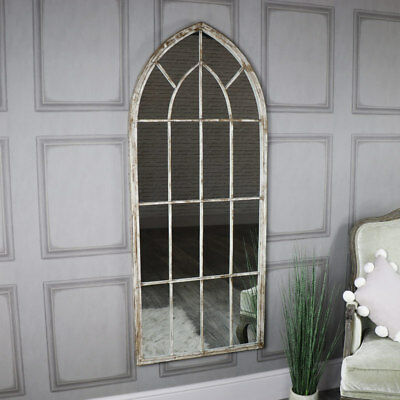 Large grey rustic curved arched window mirror shabby vintage chic living room