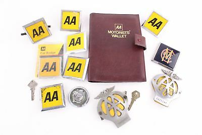 Lot of 12 x VINTAGE CAR BADGES mainly AA & vintage AA motorists wallet