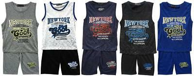 Boys Shorts Vest Outfit New York Mr Cool Tank Top Summer Set Kids 2 to 8 Years