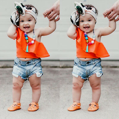 2Pc Toddler Baby Kids Girl Clothing off shoulder Tops+Denim Shorts Outfit Suit U
