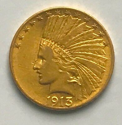 1913 United States Ten Dollar Indian Head Flying Eagle Gold Coin
