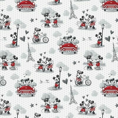 Disney Fabric - Mickey and Minnie Mouse - Vintage Scenes of Romance 100% Cotton
