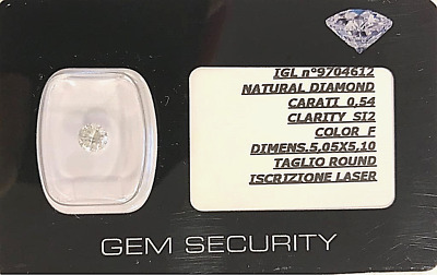 DIAMANTE NATURALE DA 0,54 CT COLORE F/SI2 CERTIFICATO IGL+ISCR.LASER  5.1mm 3VG