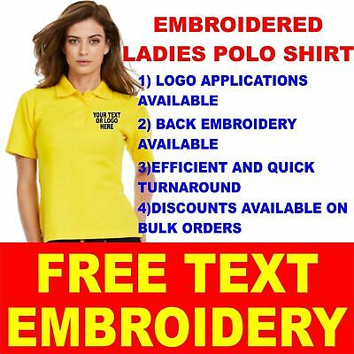 Personalised Embroidered Ladies Heavyweight Polo Shirt Uniform Workwear Text