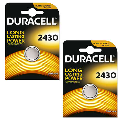 2 X Duracell 2430 Battery Lithium 3V Coin Cell Cr2430 Dl2430 L20 Ecr2430