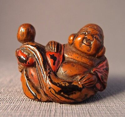 19th Century Negoro Lacquer Netsuke of Hotei and a Karako