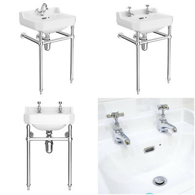 Traditional Luxury Chrome Washstand complete with 1 tap hole victorian basin 560