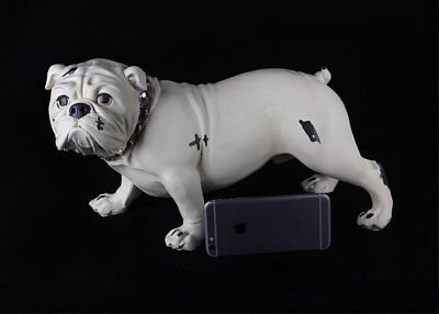White English Bull Terrier Hand Painted Resin Figurine Statue simulation model