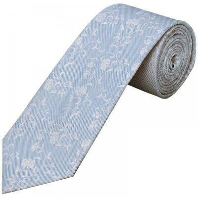 Sky Blue Floral Classic Men's Tie Neck Tie Wedding Tie Prom Tie Regular Tie