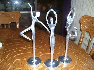 "SET OF 3 Vtg 12"" Tall Ballerina dancer Statue Sculpture Abstract Figurine India"