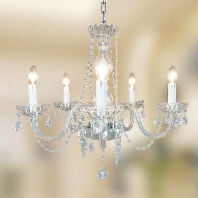 Starthi Mini 5 Lights Chandelier Lighting Vintage Pendant Ceiling Candle Crystal