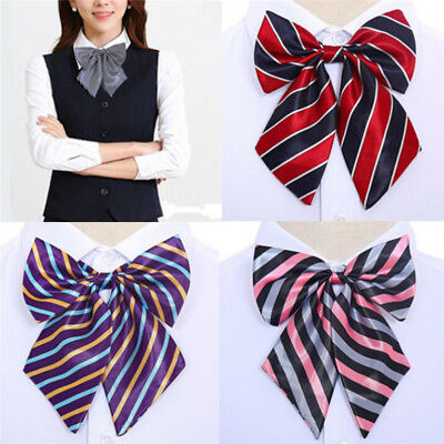 Women Bowties Striped Bow Ties Silk Tie Bow Tie Butterfly Neck Wear Collar HF