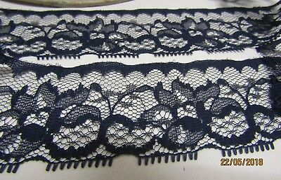 Made in Nottingham 3mtrs of 3.5inch Navy Flat Lace DESIGN 13