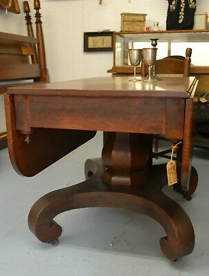 Antique Empire 1840's Cherry Drop Leaf Pedestal Table from Lebanon, Tennessee