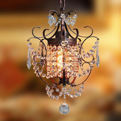 Starthi Mini Crystal Chandelier  Bronze Chandelier Pendant -Wrought Iron 1-Light