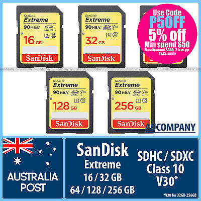 SanDisk Extreme 16GB 32GB 64GB 128GB 256GB SDHC SDXC Class 10 UHS-I Up To 90MB/s