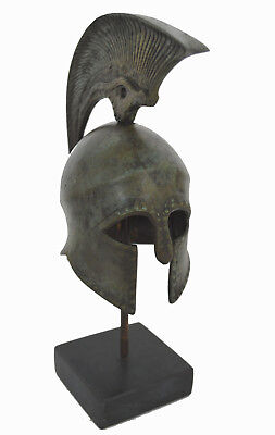 Helmet Bronze with snake lambrequin and nail carvings marble based artifact