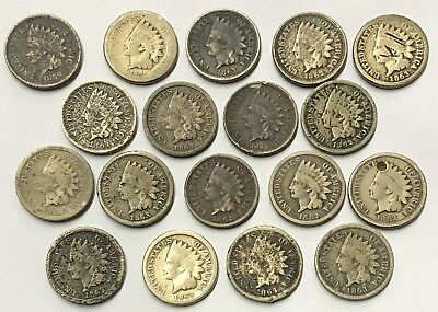 United States 18 Piece 1859 to 1864 Indian Head One Cent Copper Nickel Coin Lot
